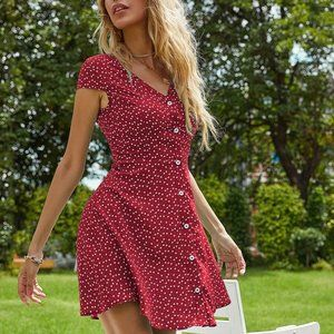 Confetti Heart Button Front A-line Dress
